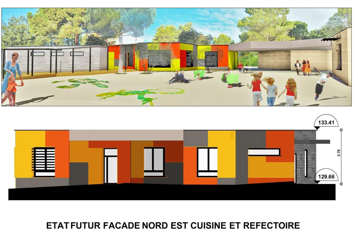 Vue en coupe des facades de l'école Jacques Prévert