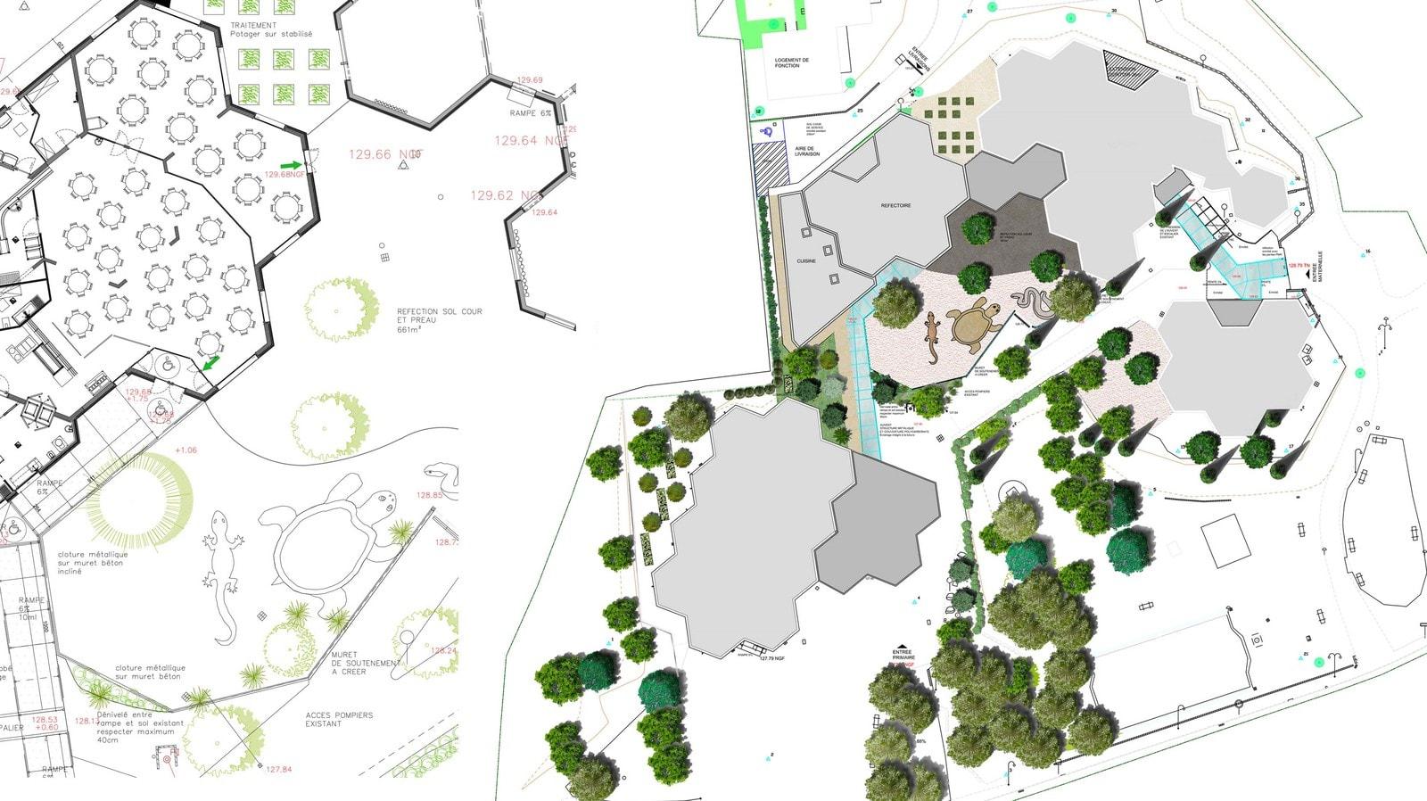 Plan de masse du site de l'école Jacques Prévert