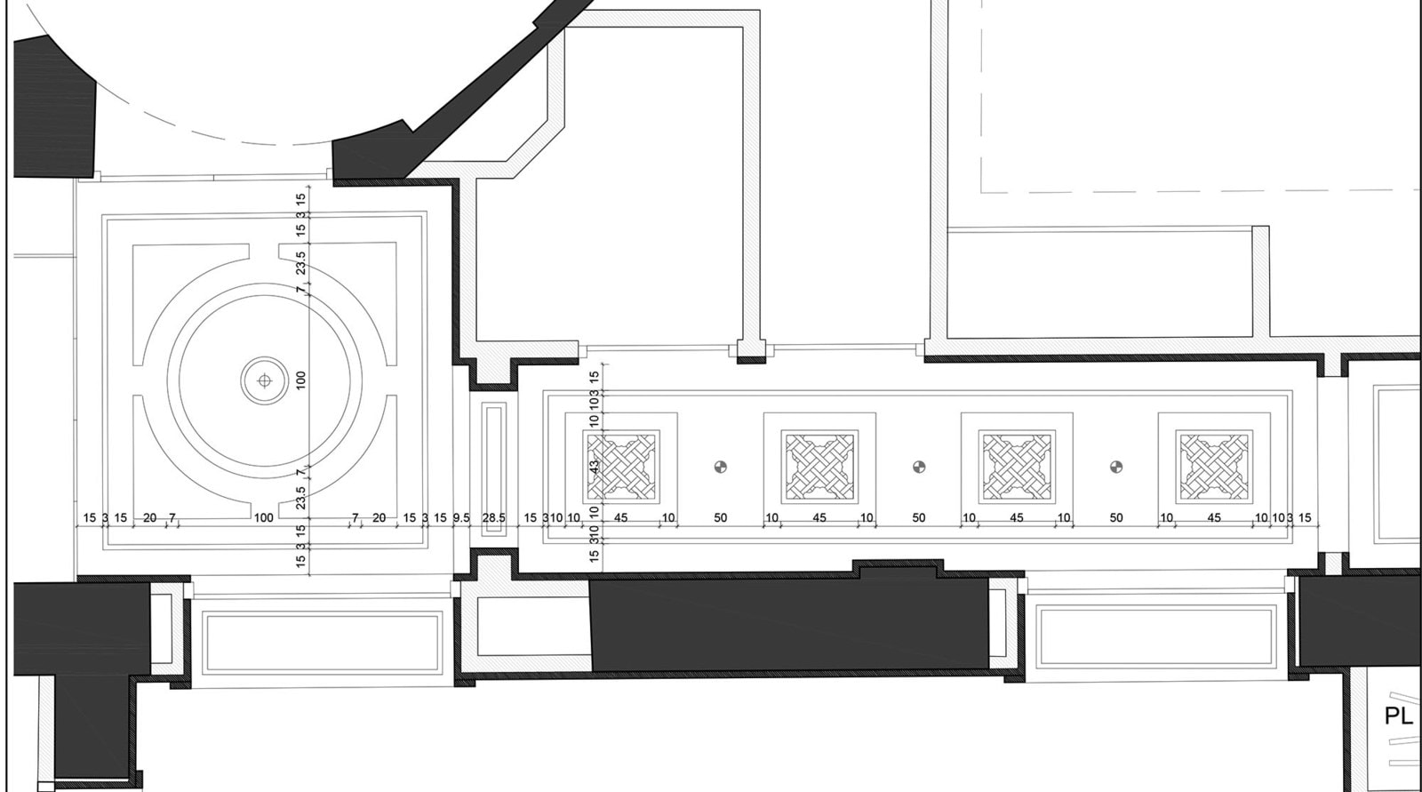Promenade – Plan plafond entrée